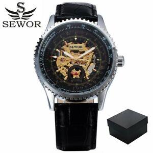 Men's SEWOR Luxury Self Wind Watches Skeleton Watch Automatic Wristwatch