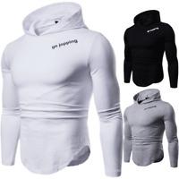 New Men's Casual Long Sleeve Hoodie Hooded T-Shirt Slim Fit Tee Shirt Tops