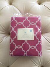 "Pottery Barn Kids Abigail Drape Bright Pink Curtain 96"" Pair Geometric Lattice"