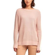 DKNY WOMENS BLUSH PINK COLORBLOCK LONG SLEEVES CREWNECK SWEATER XS NWT MSRP $99