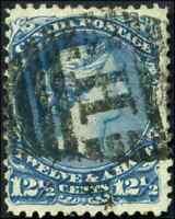 Canada #28 used F 1868 Queen Victoria 12 1/2c blue Large Queen 'H' Duplex cancel