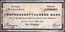 STETTIN 1923 500,000 Inflation Notgeld German Banknote today Szczecin Poland