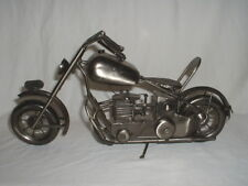 Tin Plate Model of Vintage Motorcycle - Pewter Gray