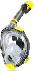 Full Face Snorkel Mask Camera Mount Panoramic 180° View Upgraded Yellow L / XL