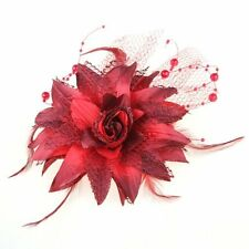 Red Organza Feather Pearl Flower Corsage Hair Band Brooch Pin Prom Cocktail M1X7