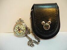 DISNEY MICKEY MOUSE LIGHT UP BACKGROUND POCKET WATCH CHAIN/LEATHER BELT POUCH