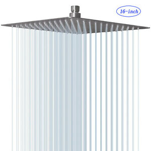 Luxury 16 Inch Large Square Stainless Steel Shower Head Rainfall Overhead Spray