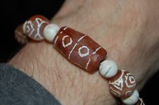 Certified 16th Century 8-Eye Dzi Bracelet w/ Cinnabar Pure Ancient 9 Moldavite