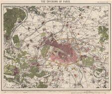 Paris environs. fortifications. chemins de fer. versailles. letts 1889 old map