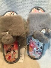 New Women's Soft Grey Slippers with Pom Poms & Floral Inner Soles ~ Xl 11/12