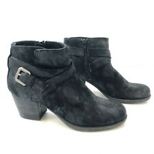 CROWN VINTAGE Womens 7.5M Ankle Boots Black Zip Side Buckle Accent