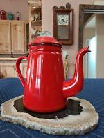Vintage Red  Enamel Japanese Stovetop  Percolator Coffeemaker White Interior