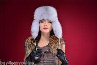 New Genuine Natural Fox Fur Hat Russian Style Cap Women Winter Ski Trapper Hat