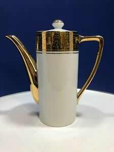 Vintage Sterling China Japan Art Deco Gold Trim Teapot or Coffee Pot