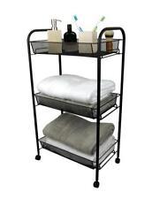 3 Tier Bathroom Storage Trolley Toiletry Linen Cart Black Metal Stand on Wheels