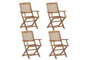 4 Garden Chairs Wooden Outdoor Folding Dining Chair Wood Seater Armrest Patio