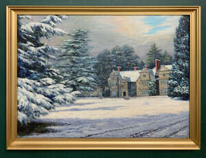 Large Antique Impressionist Winters Scene Oil On Canvas Painting, Signed