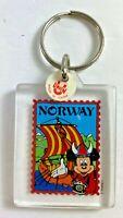 Vintage Walt Disney World Epcot Norway Mickey Mouse Plastic Key Chain