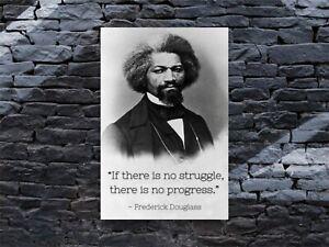 "Frederick Douglass Quote ""Struggle and Progress"" Poster Motivational Print 12x18"
