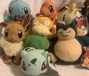 "New Pokemon Pikachu Bulbasaur Snorlax Squirtle & More Plush Stuffed 6"" Toy NWT"