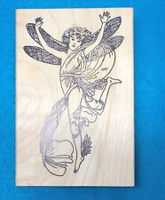 Large fairy rubber stamp wood mounted fairies fantasy lady sprite pixie wings