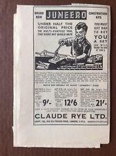K1l Ephemera 1950s Advert Juneero Construction Kits Claude Rye Ltd