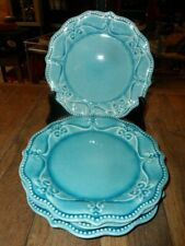 """4=PIONEER WOMAN 8"""" SALAD PLATES  TEAL BLUE GREAT COND. SPOTS R LIGHT REFLECTION"""