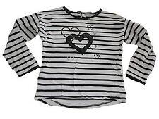 Topolino tolles Langarm Shirt Gr.128 weiß-schwarz gestreift mit Herzmotiven !!