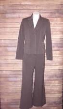Kasper Brown Womens Suit Size 6 Long Sleeve Flare bottom Pants