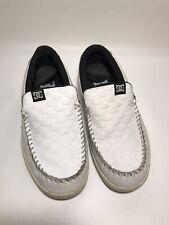 DC Skateboard Shoes (Men's Size 9) White, Leather Slip-on Loafer Style 'Villian'
