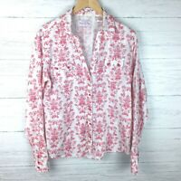 Panhandle Slim Women's White and Red Floral Print Shirt Snap Front Metallic L