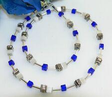 Halskette Kette Collier 4mm Cube Cat Eye weiß Kristallglas royalblau Strass 502n