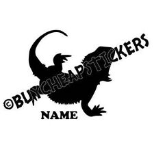 Bearded Dragon Silhouette with Name Vinyl Decal - Sticker 4x4 - Any Color