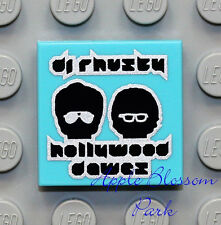 NEW Lego City 2x2 Blue Azure Decorated FLAT TILE w/Minifig Dj Head Band Album