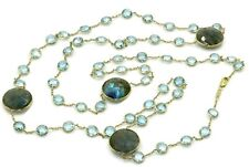 "Blue Topaz & Gray Labradorite 35"" Necklace,14K Yellow Gold"