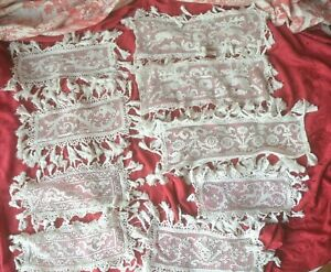 9 antique linen hand made figural filet lace pieces needle worked edges tassels