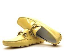 Salvatore Ferragamo mocasines Parigi amarillo zapatos charol cuero Números