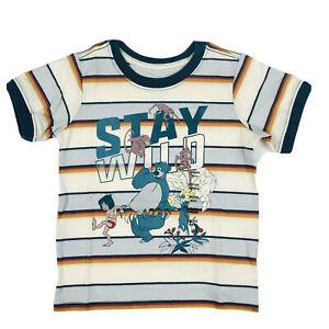 Disney Store Toddler Yellow SS Striped Jungle Book Stay Wild T Shirt XXS 2/3 NEW