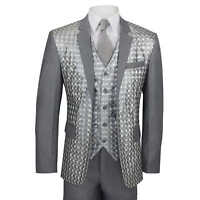Mens Silver Grey 3 Piece Suit Holographic 3D Square Check Print Slim Fit Party