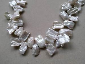 Strang KESHI Barock Süßwasserperlen Zuchtperlen Weiß Perlen 18 mm Weiss g500