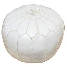 Pouf Oriental en cuir Tabouret travail manuel oreillers de sol Kora d54cm Blanc