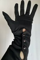 Vintage Long Black Evening Gloves grey pearl buttons Theatre Halloween costume