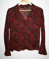 Marks and Spencer Women's Geometric Red Black Office Shirt Blouse Top Size 12