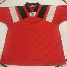 Stunning Vintage XL S.S.I. Soccer Football Jersey Red Black White Embossed