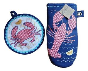 FRESH CATCH Crab & Lobster Potholder & Oven Mitt Set, by Kay Dee