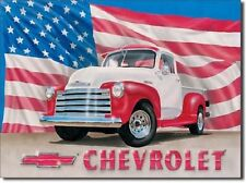 USA Flag Chevrolet Antique Truck Chevy TIN SIGN vtg metal bar wall decor ad 704
