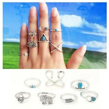 Women Jewelry Boho Knuckle Elephant Midi Rings Set Turquoise Arrow Cross