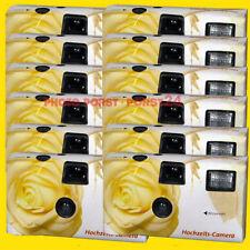 """12 x Hochzeit Einwegkamera """"Gelbe Hochzeits Rose"""" ink. Batterie HB 08/2020 NEU"""