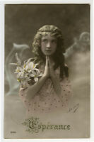 1910s Pretty Young GIRL child children ANCHOR OF HOPE photo postcard