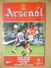 1999/2000 'S UEFA CHAMPIONS LEAGUE-Arsenal V AEREI DI LINEA SOLNA ~ PROGRAMMA UFFICIALE